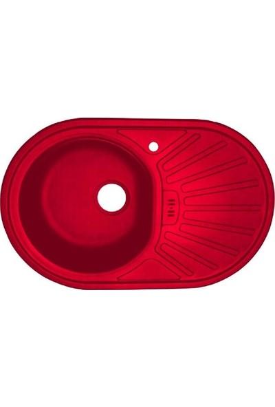 Sellin Kaplama Renkli Metal Mutfak Evyesi Oval 1 Gözlü 48 x 78 cm Kırmızı Mat Damlalık Sağ