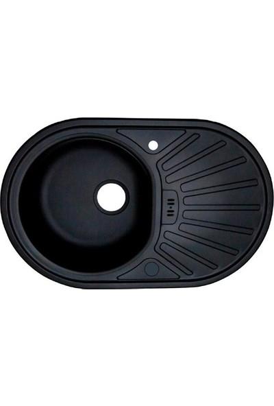Sellin Kaplama Renkli Metal Mutfak Evyesi Oval 1 Gözlü 48 x 78 cm Siyah Mat Damlalık Sağ