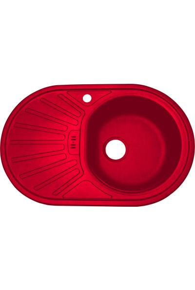 Sellin Kaplama Renkli Metal Mutfak Evyesi Oval 1 Gözlü 48 x 78 cm Kırmızı Mat Damlalık Sol