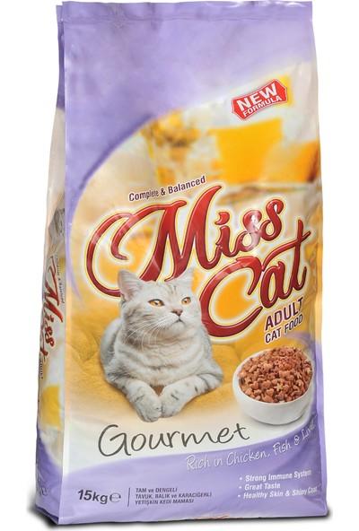 Miss Cat Gurme Renkli Tavuklu, Balıklı, Ciğerli Yetişkin Kedi Maması 15 kg