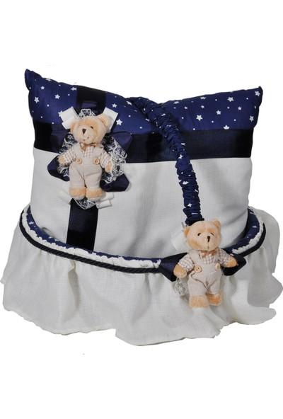 Partipan Bebek Takı Yastığı ve Sepeti Ayıcıklı Mavi