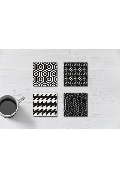 Yamamiya Dekoratif Siyah Geometrik Desenli Ahşap Bardak Altlığı 4'lü Set