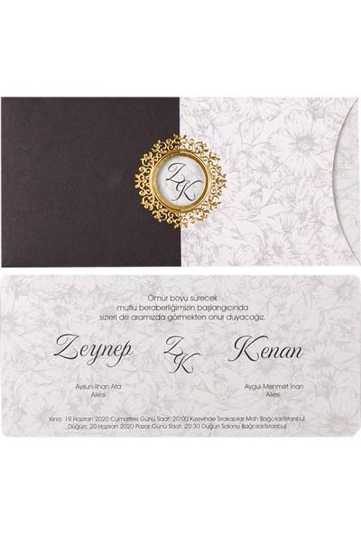 Polen Davetiye Çiçekli Retro Düğün Davetiyesi PE22330