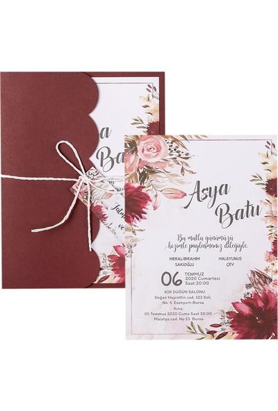 Polen Davetiye Çiçekli Düğün Davetiyesi PE22306