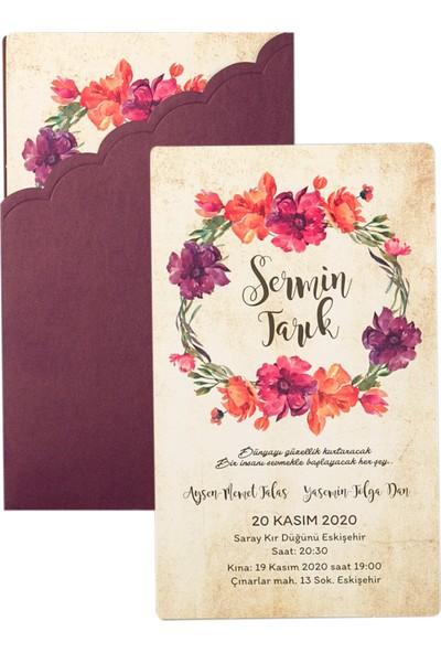 Polen Davetiye Çiçekli Düğün Davetiyesi PE22322