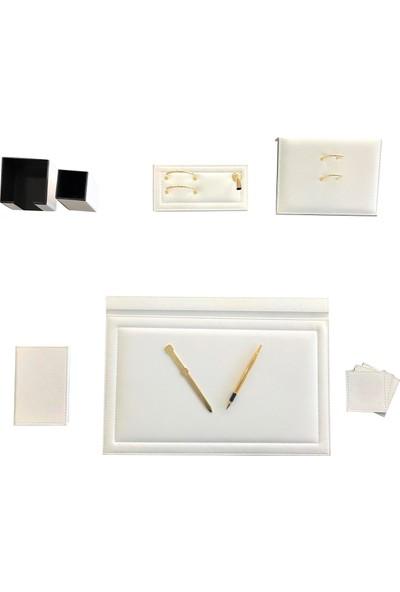 Ömür Ofis Masaüstü 8 Parça Deri̇ Sümen Takimi Beyaz