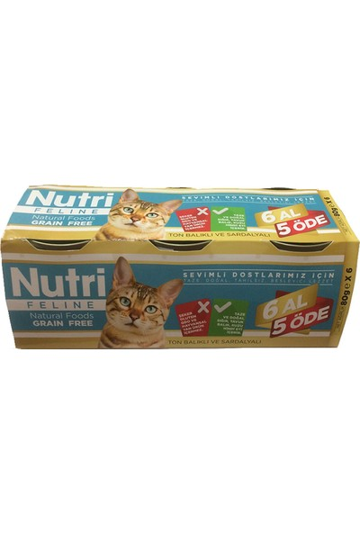Nutri Feline Ton & Sardalyalı Tahılsız Kedi Maması 80 gr (6 Al 5 Öde)