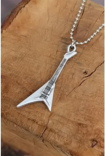 Bu Farklı Elektro Gitar Tasarımlı Eskitme Gümüş Renk Metal Top Zincirli Kolye - Bf6261