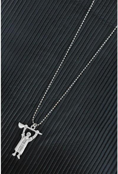 Bu Farklı Pir Sultan Abdal Tasarımlı Eskitme Gümüş Renk Metal Top Zincirli Kolye - Bf6226