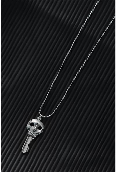 Bu Farklı Top Zincirli Kuru Kafa Anahtar Tasarım Eskitme Gümüş Renk Kolye - Bf6186