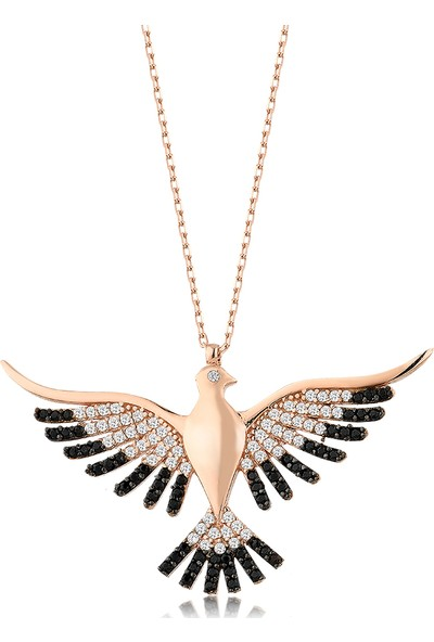 Girabella Zirkon Taşlı Zümrüdüanka Kuş Gümüş Kolye