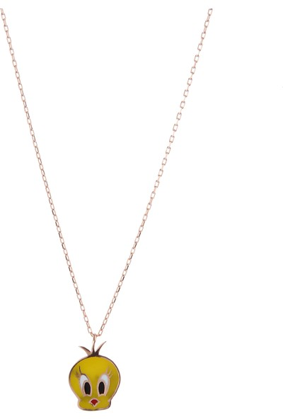 Serpil Jewellery Mineli Tweetty Modeli Gümüş Çocuk Kolyesi