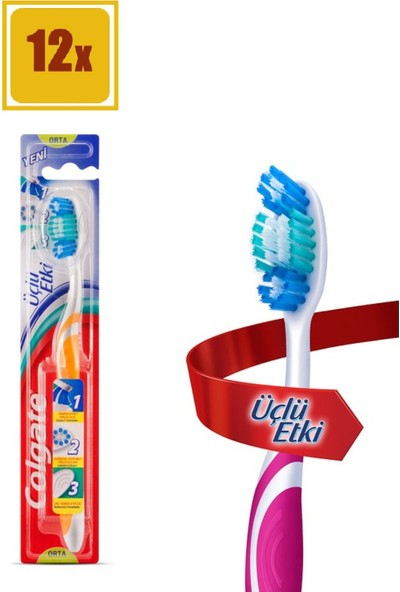 Colgate Diş Fırçası Üçlü Etki Orta 12'li Set