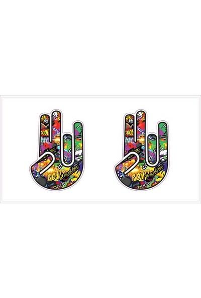 Gecko El İşareti Sticker Damla Logo Çıkartma Etiketi 3D