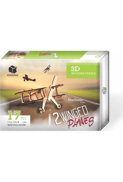 Pershang Ahşap Çift Kanatlı Pırpır Uçak 3D Yapboz