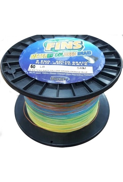 Fins Metered Colored 60LBS 0,381MM. 548MT. Multi Color