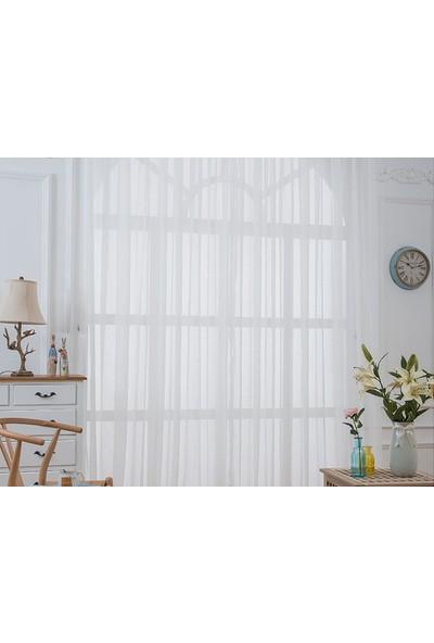 Belle Cose Kullanıma Hazır Pilesiz Kırık Beyaz Düz Tül Perde 100 x 260 cm