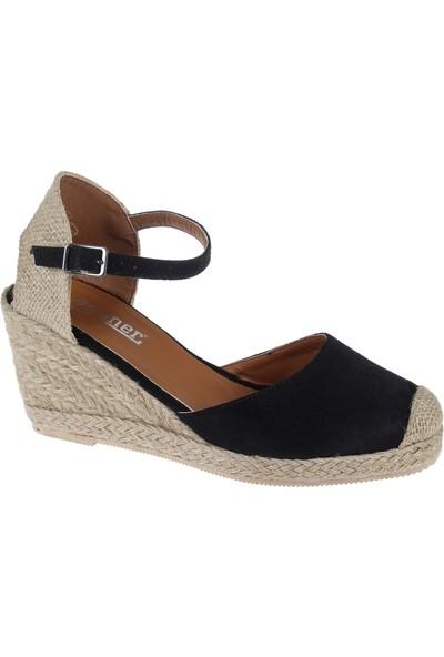 Shalin Kadın Sandalet 1515 Siyah Nubuk