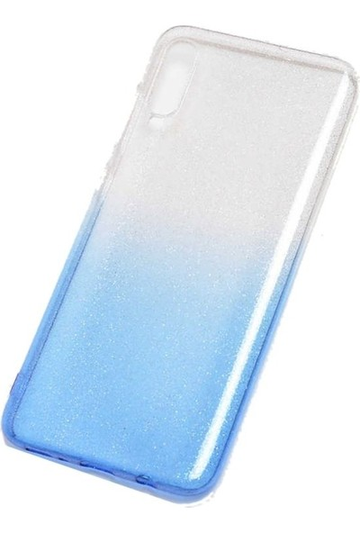 Teleplus Samsung Galaxy A50 Kılıf Fogy Simli Silikonlu Mavi + Nano Ekran Koruyucu
