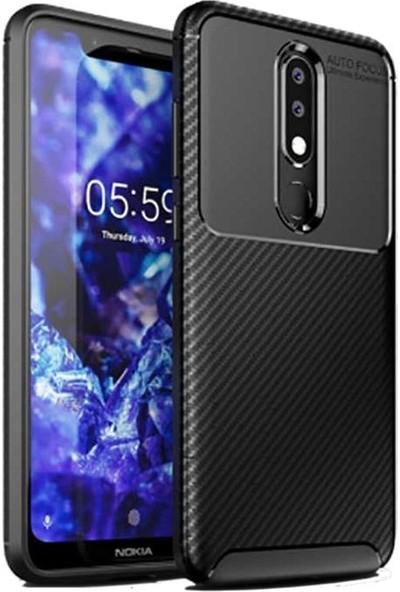 Teleplus Nokia 5.1 Plus Negro Karbon Silikon Kılıf Siyah + Nano Ekran Koruyucu