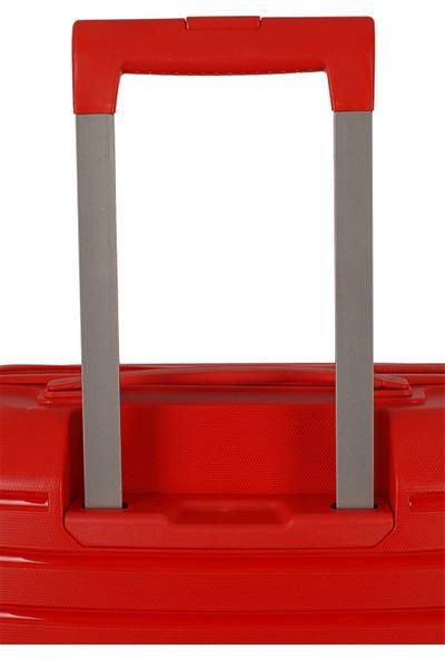 Ehs Ground Silikon Kırılmaz PP Büyük Boy Valiz Kırmızı