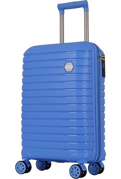 Ehs Ground Silikon Kırılmaz PP Orta Boy Valiz Mavi