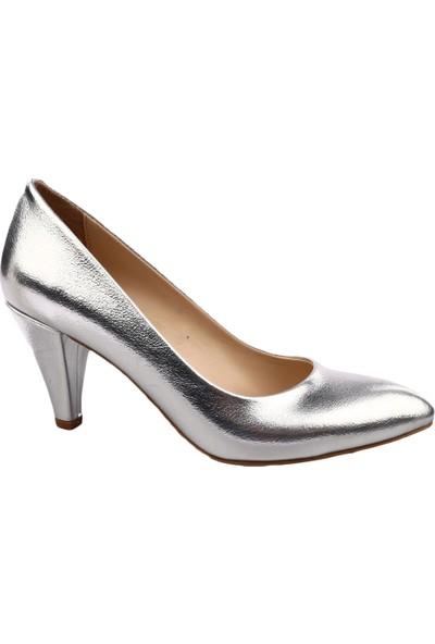Dgn 102 Kadın Sivri Burun Parmak Dekolteli 11 Pont Stiletto Gümüş Kırık Sıvama
