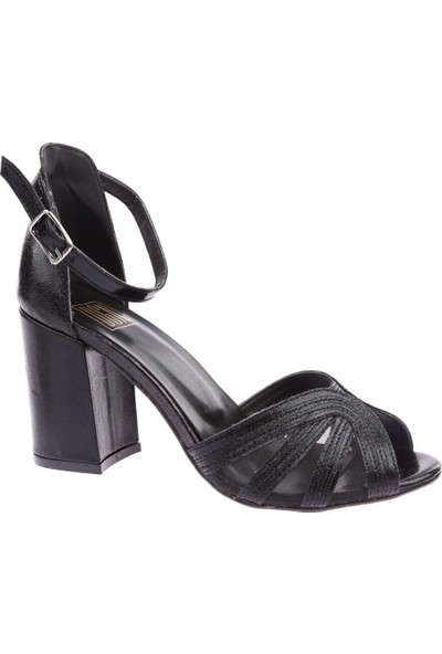 Dgn 17141 Kadın Çapraz Bantlı Bilekten Bağlı Topuklu Ayakkabı Siyah Saten