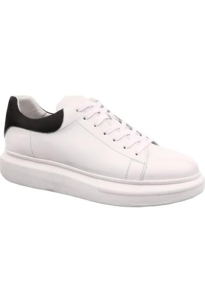 Dgn 1966 Erkek Kalın Taban Spor Bağlı Sneakers Ayakkabı Beyaz Siyah