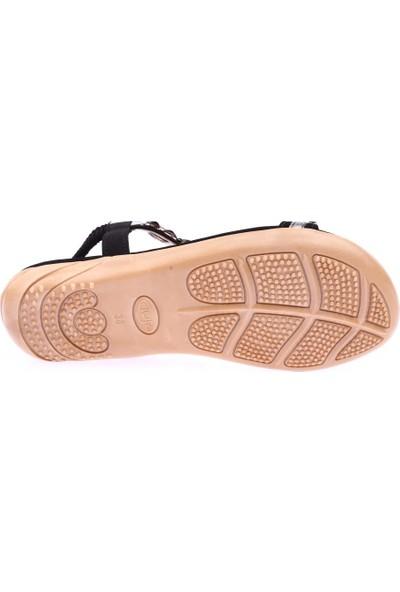Guja 19Y204-1 Kadın T-Strap Kesme Taşlı Sandalet Siyah