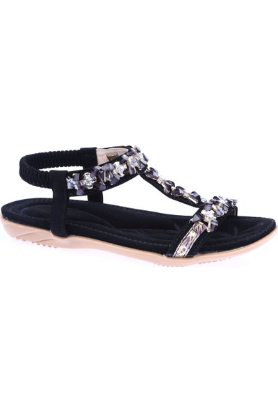Guja 19Y205-1 Kız Çocuk T-Strap Kesme Taşlı Sandalet Siyah