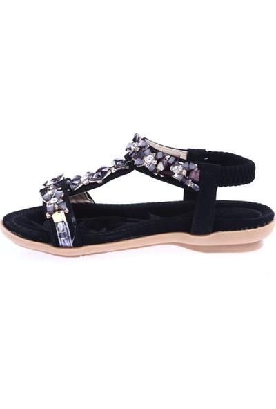 Guja 19Y206 Kız Çocuk T-Strap Taşlı Sandalet Siyah