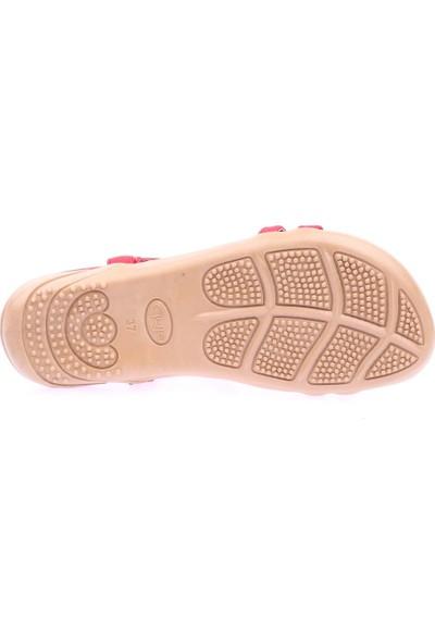 Guja 19Y250-2 Kadın T-Strap Deniz Kabuğu Taşlı Sandalet Kırmızı