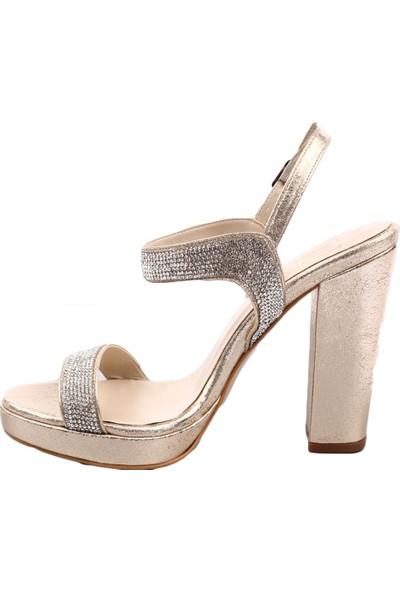Dgn 589-536 Kadın Ankle Strap Lita Topuklu Silver Taşlı Abiye Ayakkabı Dore Sıvama Taşlı