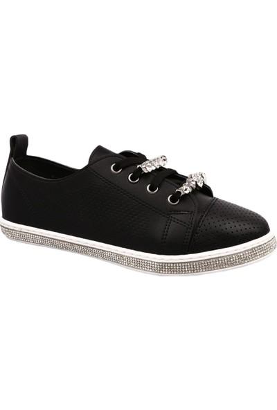 Dgn K354 Kadın Tabanı Silver Taşlı Üstü Kristal Taşlı Sneakers Spor Ayakkabı Siyah