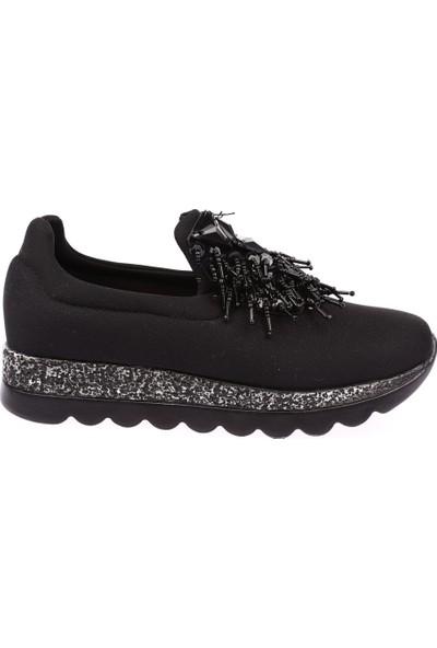 Dgn K455 Kadın Pullu Boncuklu Spor Ayakkabı Siyah Stretch