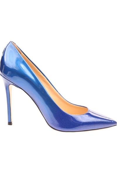 Poletto 2536-05 Kadın Sivri Burun Parmak Dekolteli Stiletto Mavi Sim Rugan