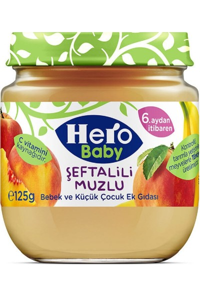 Hero Baby Şeftali Muz Püreli Kavanoz Mama 125 gr 12'li Set