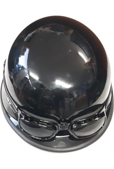 Mts -803 Chooper Yazlık Motosiklet Nazi Kaskı Parlak Siyah