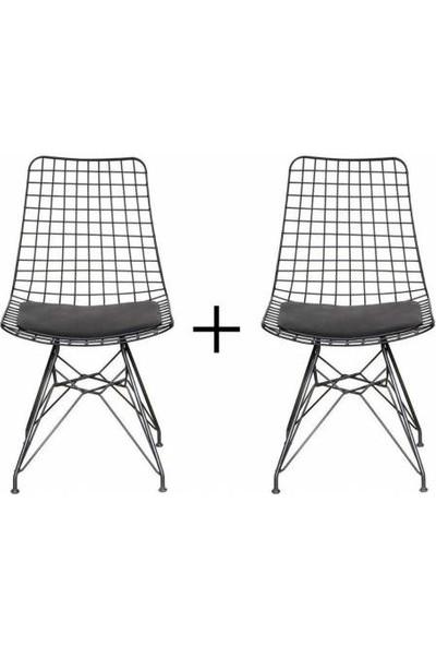 Evistro Tel Sandalye 2li Mutfak Bahçe Ofis Sandalyesi Siyah