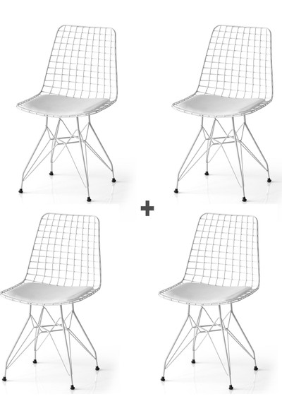 Evistro Tel Sandalye 4 lü Mutfak Bahçe Ofis Sandalyesi Beyaz