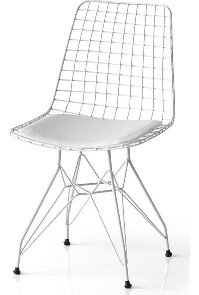 Evistro Tel Sandalye Mutfak Bahçe Ofis Sandalyesi Beyaz