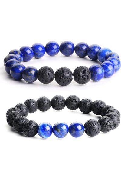 Geometra Concept Lapis Lazuli Lav Taşı Ruh Eşi Difizör 10MM Doğaltaş Bileklik Seti Erkek-Trend Hediye