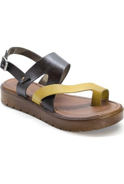 Cushy 335 Kahverengi Sarı Parmak Arası Deri Kadın Sandalet