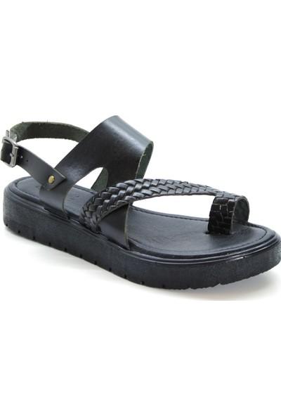 Cushy 335 Siyah Baskılı Parmak Arası Deri Kadın Sandalet