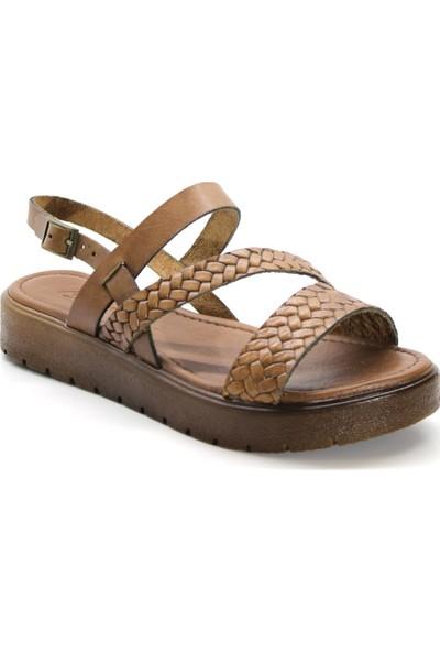 Cushy 329 Taba Baskılı Deri Kadın Sandalet