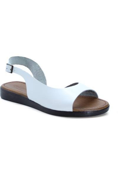 Cushy 223 Beyaz Deri Kadın Sandalet