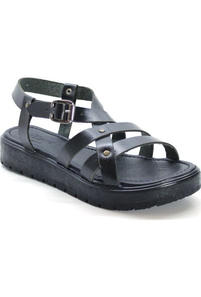 Cushy 303 Siyah Deri Kadın Sandalet
