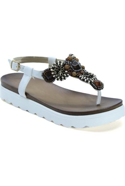 Cushy 505 Beyaz Parmak Arası Taşlı Kadın Sandalet