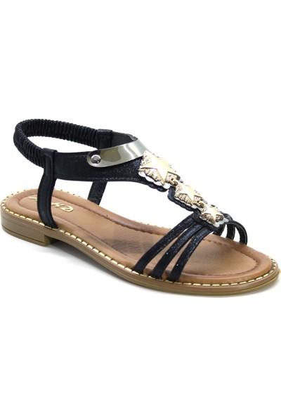 Cushy 051 Siyah Düz Taşlı Kadın Sandalet